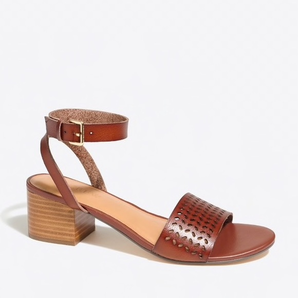 15e971923f2f1 J. Crew Factory Shoes - J. Crew Perforated Block Heel Leather Sandals 8.5
